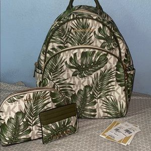 Michael Kors Palm leaf Backpack and accessories